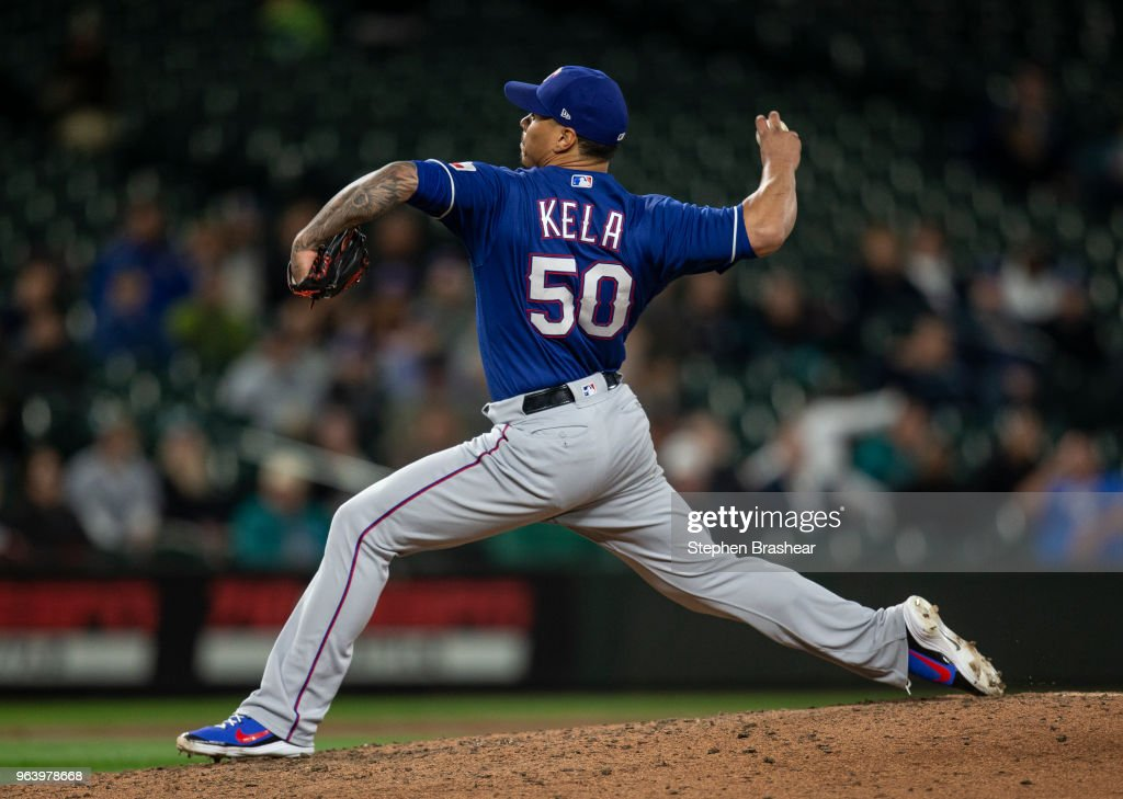 Reliever Keone Kela #50 of the Texas Rangers delivers a pitch during the ninth inning of a game against the Seattle Mariners at Safeco Field on May 30, 2018 in Seattle, Washington. The Rangers won 7-6.