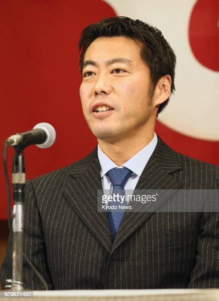 Reliever Koji Uehara attends a press conference in Tokyo on March 9 as he rejoins his first pro club the Yomiuri Giants ==Kyodo