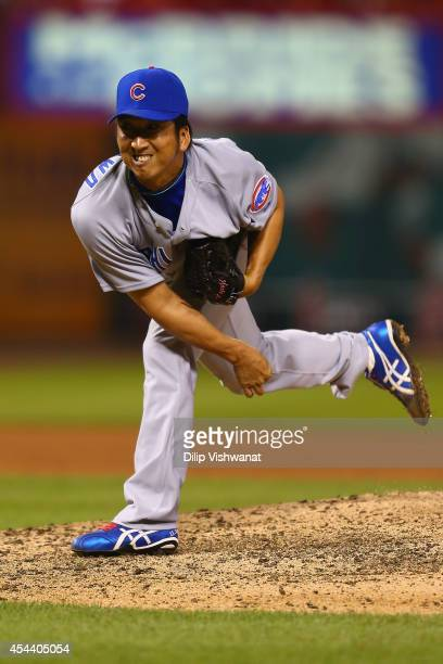 Reliever Kyuji Fujikawa of the Chicago Cubs pitches against the St Louis Cardinals in the eighth inning at Busch Stadium on August 30 2014 in St...