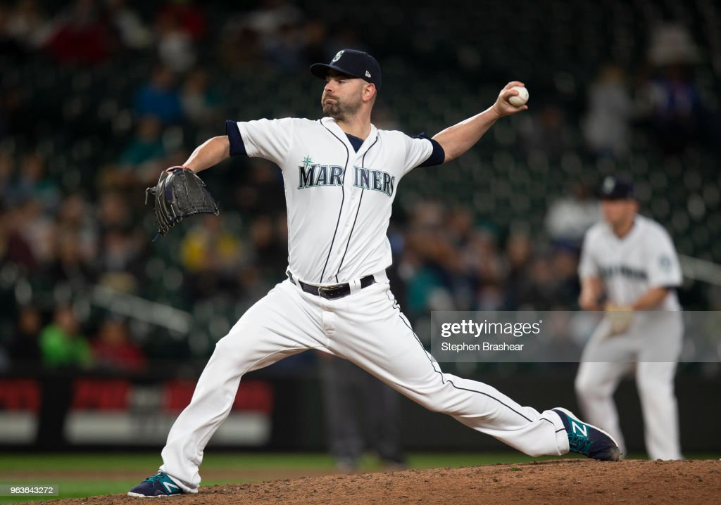 Reliever Marc Rzepczynski #25 of the Seattle Mariners delivers a pitch during the seventh inning of a game at Safeco Field on May 29, 2018 in Seattle, Washington.