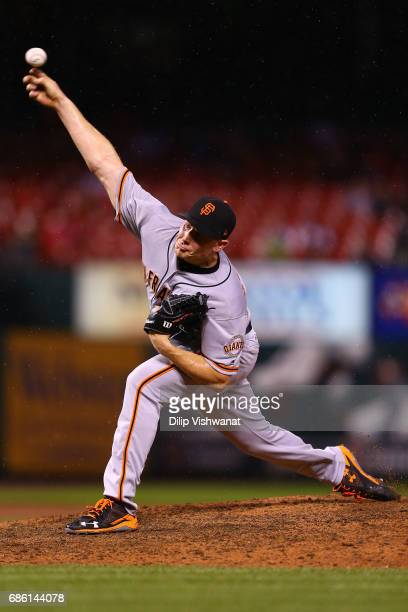Reliever Mark Melancon of the San Francisco Giants pitches against the St Louis Cardinals in the twelfth inning at Busch Stadium on May 20 2017 in St...