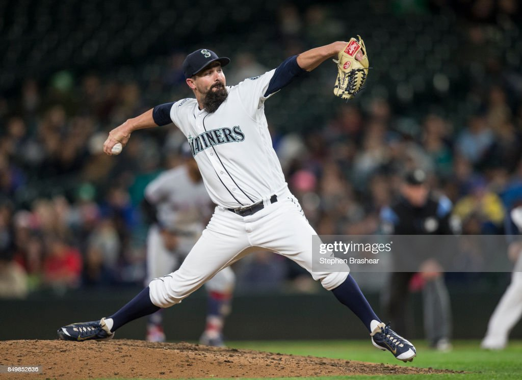 Reliever Nick Vincent #50 of the Seattle Mariners delivers a pitch during the eighth inning of a game against the Texas Rangers at Safeco Field on September 19, 2017 in Seattle, Washington.