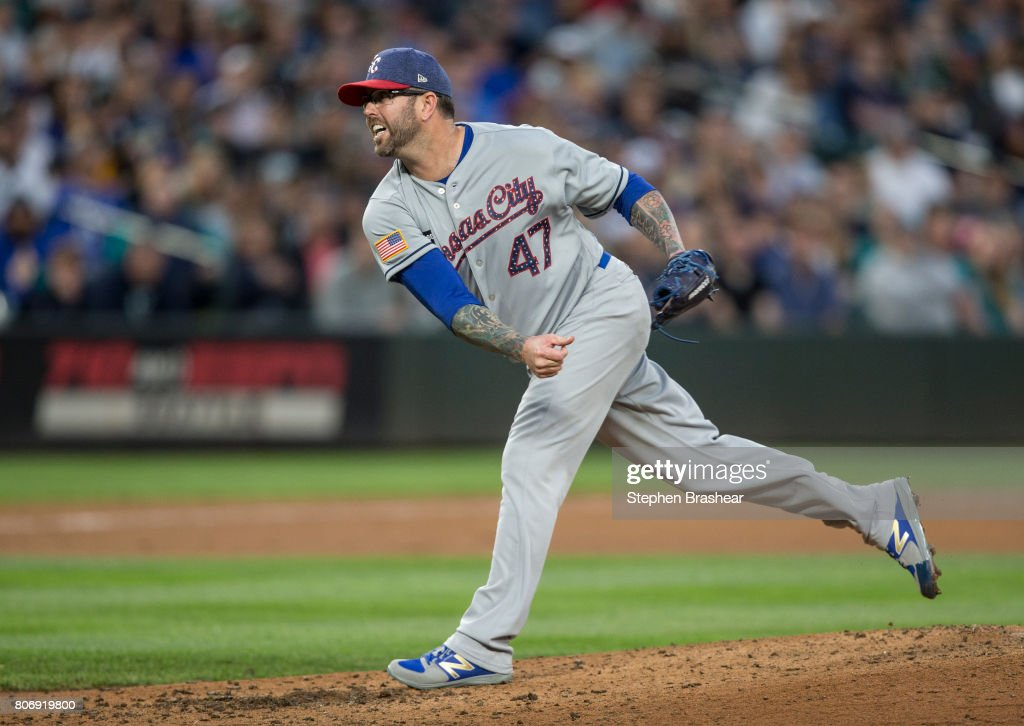 Reliever Peter Moylan #47 of the Kansas City Royals delivers a pitch during the seventh inning of a game against the Seattle Mariners at Safeco Field on July 3, 2017 in Seattle, Washington.