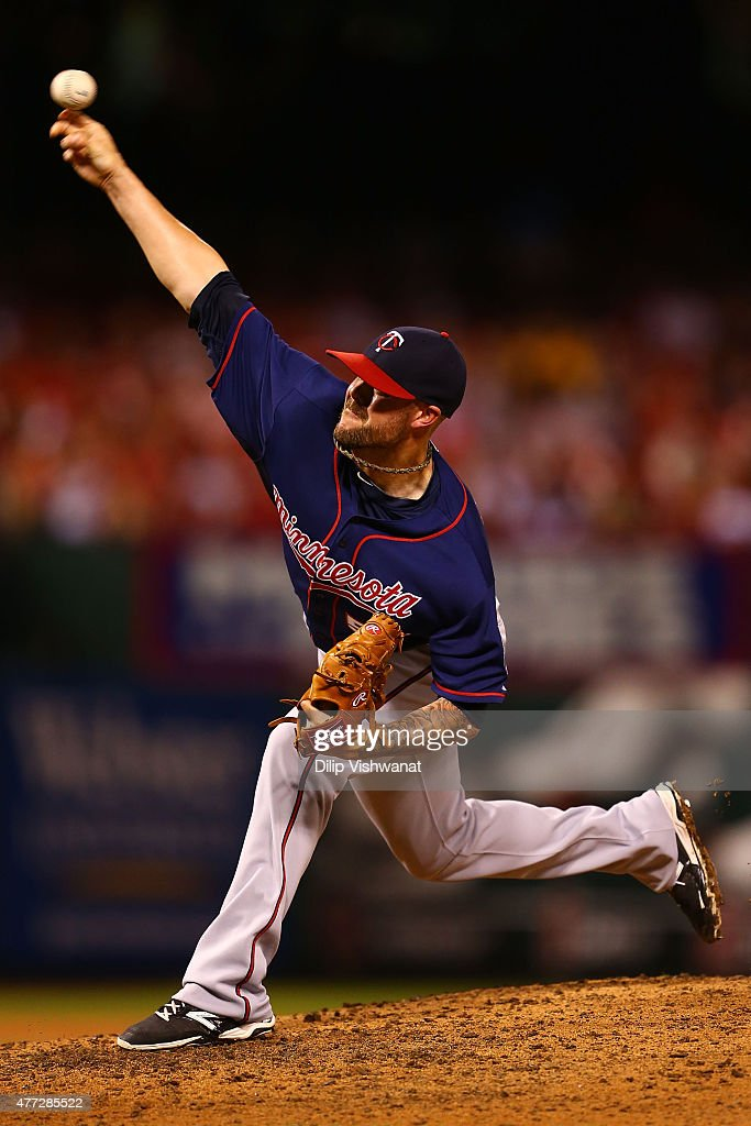 Reliever Ryan Pressly #57 of the Minnesota Twins pitches against the St. Louis Cardinals in the eighth inning at Busch Stadium on June 15, 2015 in St. Louis, Missouri.