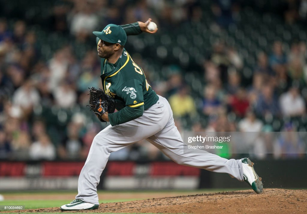 Reliever Santiago Casilla #46 of the Oakland Athletics delivers a pitch during the ninth inning of a game against the Seattle Mariners at Safeco Field on July 6, 2017 in Seattle, Washington. The Athletics won 7-4.