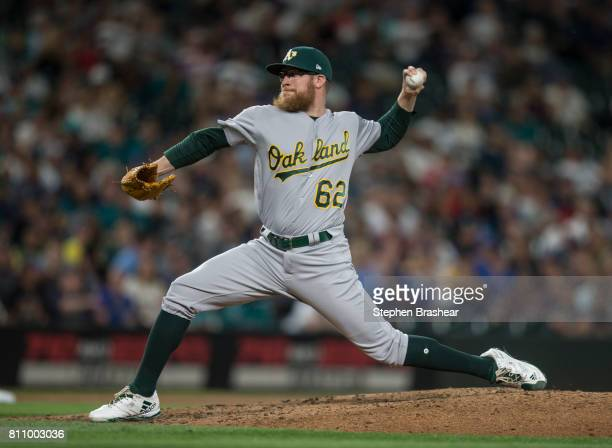 Reliever Sean Doolittle of the Oakland Athletics delivers a pitch during the eighth inning of a game against the Seattle Mariners at Safeco Field on...