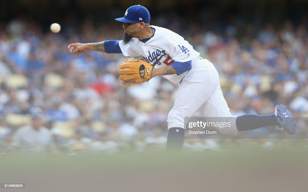 Reliever Sergio Romo #54 of the Los Angeles Dodgers throws a pitch in the eighth inning against the Kansas City Royals at Dodger Stadium on July 8, 2017 in Los Angeles, California. The Dodgers won 5-4 in ten innings.