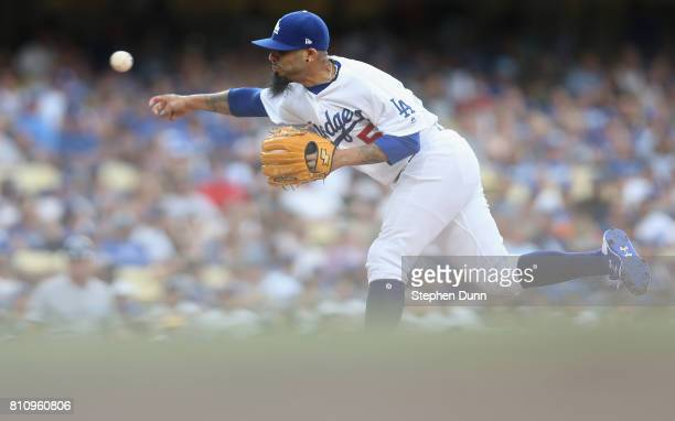 Reliever Sergio Romo of the Los Angeles Dodgers throws a pitch in the eighth inning against the Kansas City Royals at Dodger Stadium on July 8 2017...