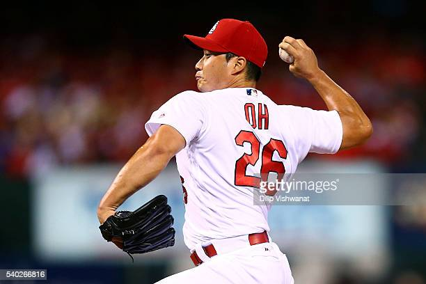Reliever Seung Hwan Oh of the St Louis Cardinals pitches against the Houston Astros in the seventh inning at Busch Stadium on June 14 2016 in St...
