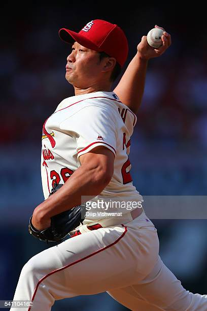 Reliever Seung Hwan Oh of the St Louis Cardinals pitches against the Texas Rangers in the eighth inning at Busch Stadium on June 18 2016 in St Louis...