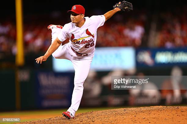 Reliever Seung Hwan Oh of the St Louis Cardinals pitches against the Miami Marlins in the ninth inning at Busch Stadium on July 15 2016 in St Louis...