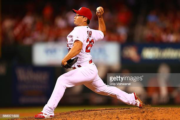 Reliever Seung Hwan Oh of the St Louis Cardinals pitches against the Cincinnati Reds in the ninth inning at Busch Stadium on August 10 2016 in St...
