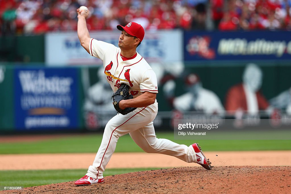 Reliever Seung Hwan Oh #26 of the St. Louis Cardinals pitches against the Pittsburgh Pirates in the ninth inning at Busch Stadium on October 1, 2016 in St. Louis, Missouri.