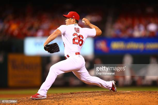 Reliever SeungHwan Oh of the St Louis Cardinals pitches against the Pittsburgh Pirates in the ninth inning at Busch Stadium on April 18 2017 in St...