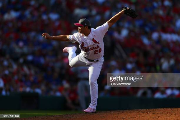 Reliever SeungHwan Oh of the St Louis Cardinals pitches against the Chicago Cubs in the ninth inning at Busch Stadium on May 13 2017 in St Louis...