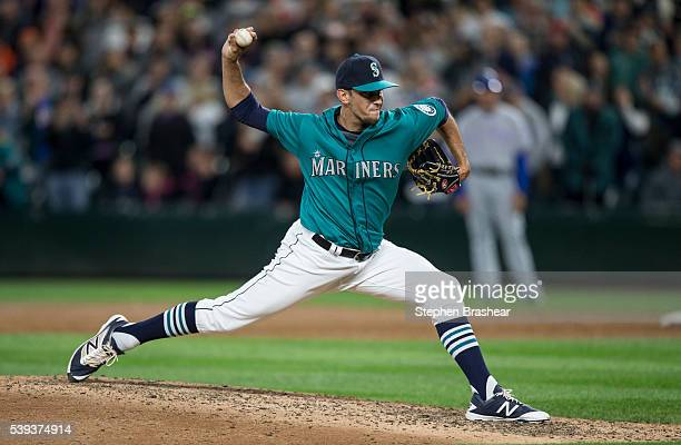 Reliever Steve Cishek delivers a pitch during the ninth inning of a game against the Texas Rangers at Safeco Field on June 10 2016 in Seattle...