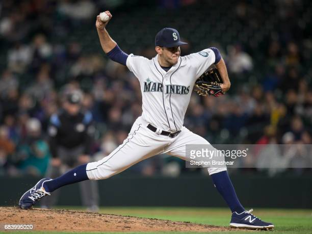 Reliever Steve Cishek of the Seattle Mariners delivers a pitch during the ninth inning of a game against the Oakland Athletics at Safeco Field on May...