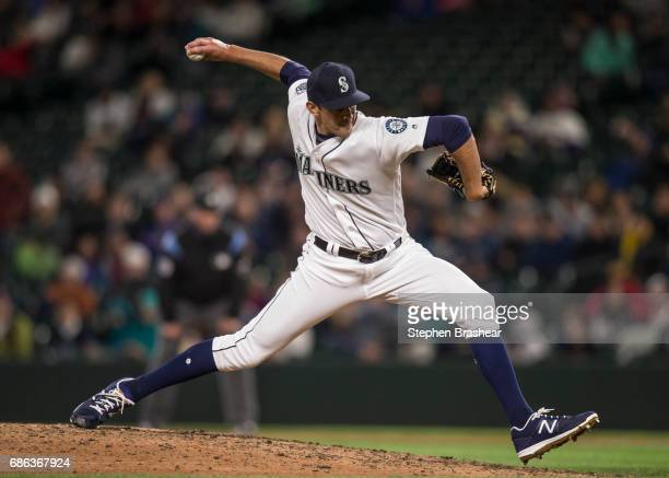 Reliever Steve Cishek of the Seattle Mariners delivers a pitch during a game against the Oakland Athletics at Safeco Field on May 16 2017 in Seattle...