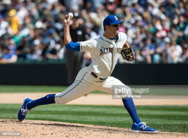 Reliever Steve Cishek of the Seattle Mariners delivers a pitch during a game against the Chicago White Sox at Safeco Field on May 21 2017 in Seattle...