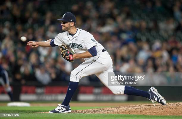 Reliever Steve Cishek of the Seattle Mariners delivers a pitch during the seventh inning of a game against the Tampa Bay Rays at Safeco Field on June...