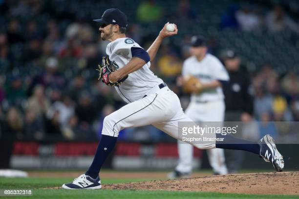 Reliever Steve Cishek of the Seattle Mariners delivers a pitch during a game against the Minnesota Twins at Safeco Field on June 8 2017 in Seattle...