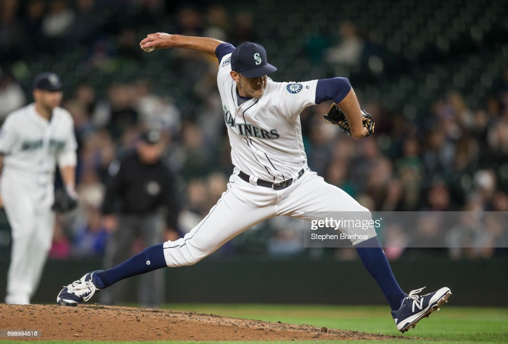 Reliever Steve Cishek #31 of the Seattle Mariners delivers a pitch during the tenth inning of a game Detroit Tigers at Safeco Field on June 20, 2017 in Seattle, Washington. The Mariners won the game 5-4 in ten innings and Cishek got the win.