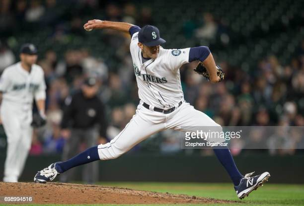 Reliever Steve Cishek of the Seattle Mariners delivers a pitch during the tenth inning of a game Detroit Tigers at Safeco Field on June 20 2017 in...