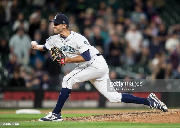 Reliever Steve Cishek of the Seattle Mariners delivers a pitch during the ninth inning of a game against the Detroit Tigers at Safeco Field on June...
