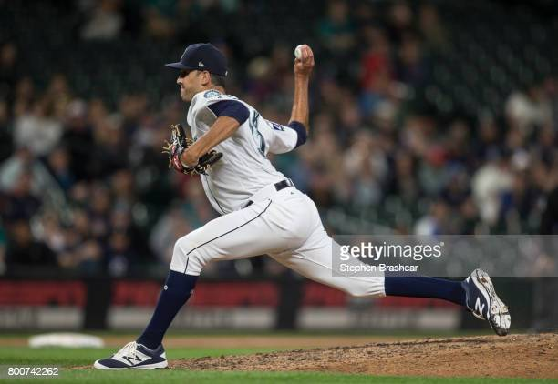 Reliever Steve Cishek of the Seattle Mariners delivers a pitch during a game against the Detroit Tigers at Safeco Field on June 22 2017 in Seattle...