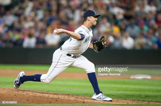 Reliever Steve Cishek of the Seattle Mariners delivers a pitch during a game against the Boston Red Sox at Safeco Field on July 25 2017 in Seattle...