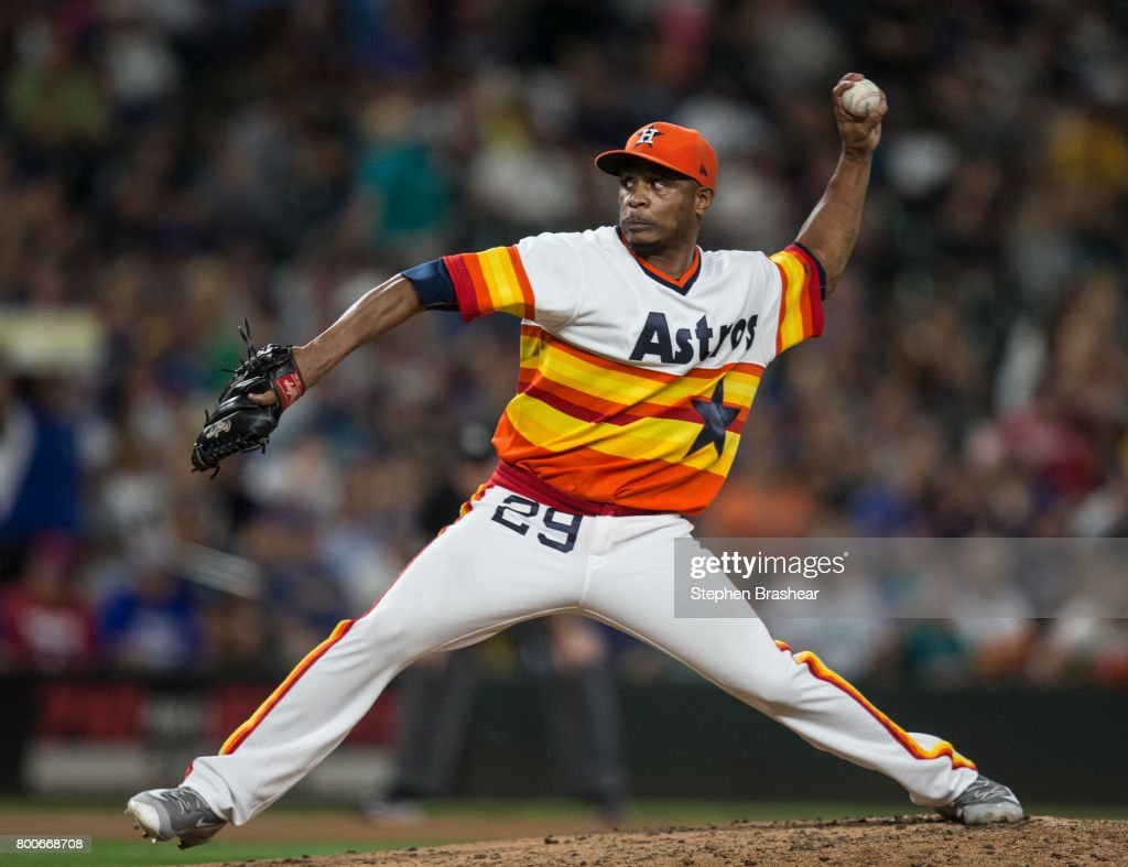 Reliever Tony Sipp #29 of the Houston Astros delivers a pitch during the seventh inning of a game against the Seattle Mariners at Safeco Field on June 24, 2017 in Seattle, Washington. The Astros won 5-2.