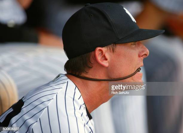 Reliever Tyler Clippard of the New York Yankees watches the bottom of the ninth inning during a game against the Texas Rangers at Yankee Stadium on...