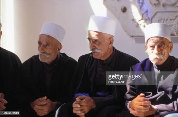 Religieux druzes en août 1989 à Beyrouth au Liban.