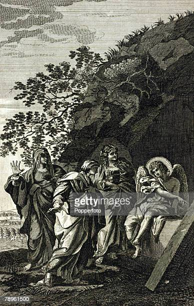 Religion Biblical Illustrations Engravings from the Universal Family Bible dated 1775 This engraving entitled The angel proclaiming Christ's...