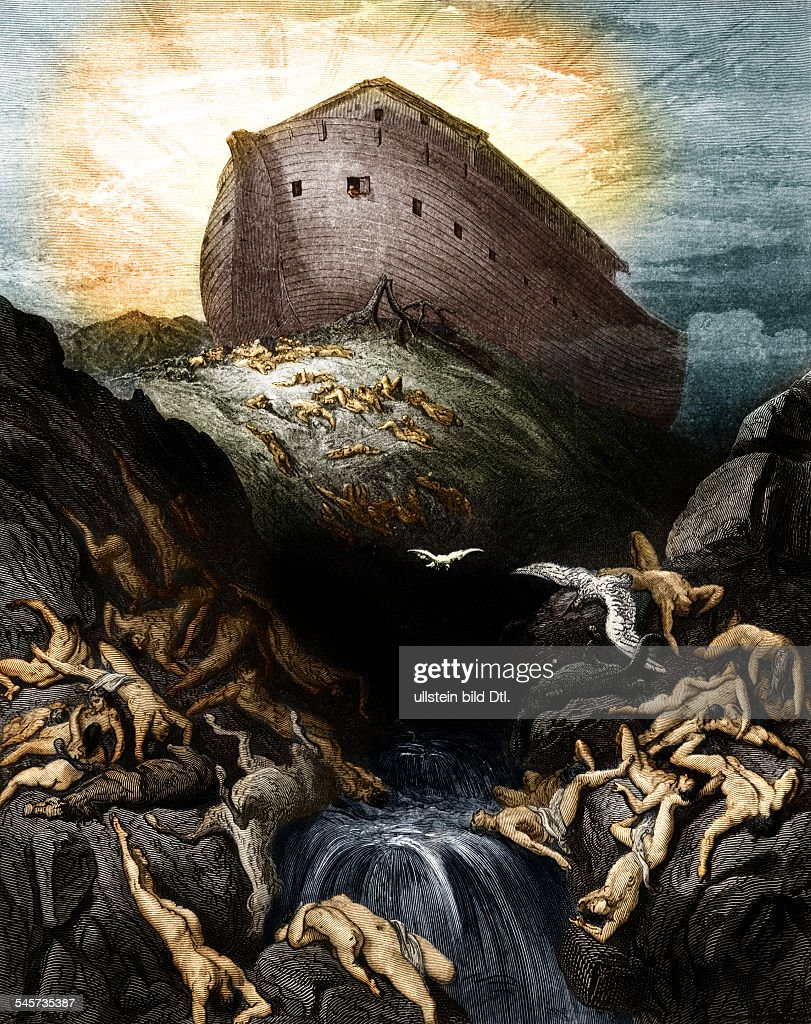 Religion, Christianity, Bible, Old Testament, After the Great Flood: a dove is sent forth from Noah's Ark - wood engraving by Pannemaker after Gustav DoreDigitally colorized. Original: image no 00725566 - 1866 : News Photo