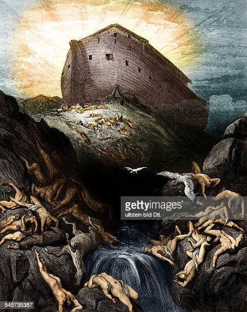 Religion Christianity Bible Old Testament After the Great Flood a dove is sent forth from Noah's Ark wood engraving by Pannemaker after Gustav...