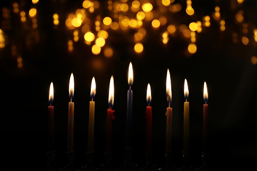 Religion image of jewish holiday Hanukkah background with menorah (traditional candelabra) and candles 1189684996