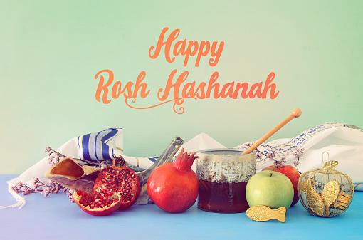 religion image of Rosh hashanah (jewish New Year holiday) concept. Traditional symbols 1165007620