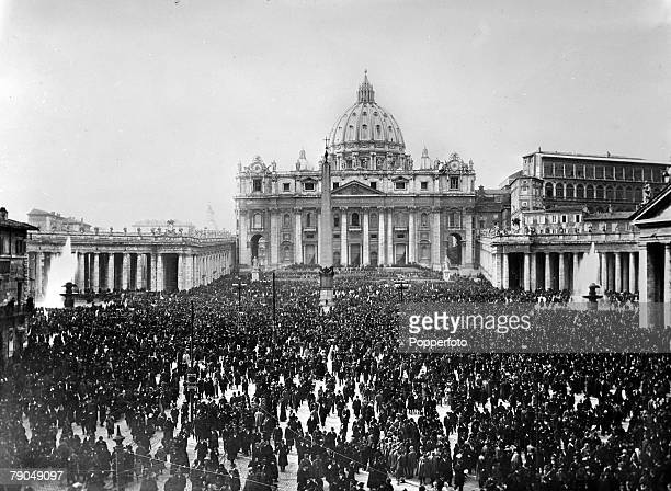 Religion Roman Catholic Church Italy pic March 1939 A large crowd gathering in St Peter's Square Rome on the day of the Coronation of the new Pope...