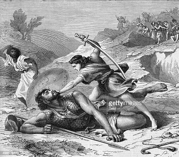 Religion The Holy Bible I Samuel Goliath is a giant Philistine warrior defeated by the young David the future king of Israel in Bible's Books of...