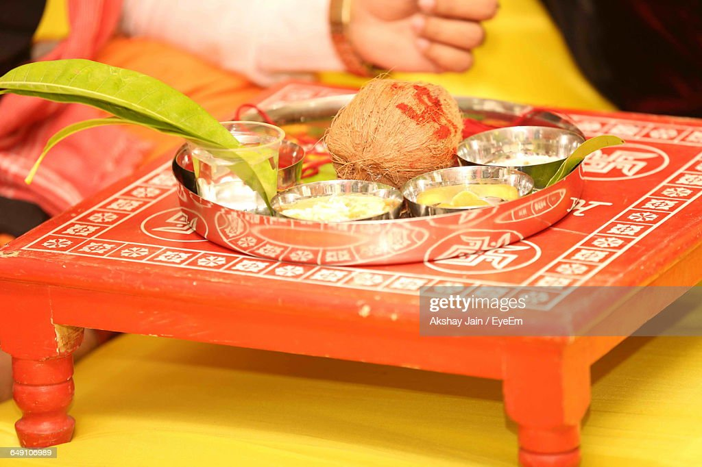 Religions Offerings On Traditional Table During Wedding Ceremony : Stock Photo