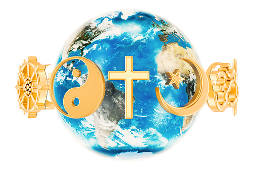 Religions symbols around the Earth Globe, 3D rendering isolated on white background 904691394