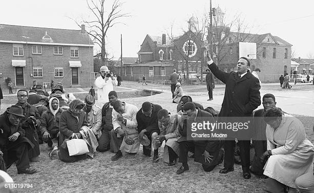 Religious and Civil Rights leader Andrew Young leads a prayer prior to the start of the first Selma to Montgomery March, Selma, Alabama, March 7,...