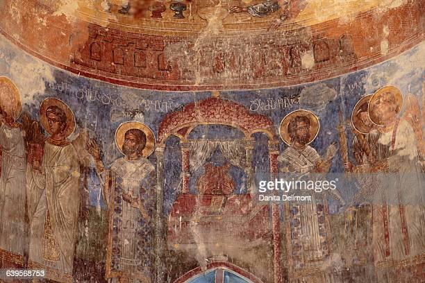 religious artwork on wall of gremi monastery, telavi, georgia - georgian culture stock pictures, royalty-free photos & images