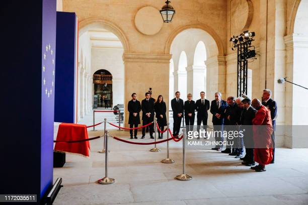 TOPSHOT Religious authorities the President of the Protestant Federation of France Pastor Francois Clavairoly France rector of the Great Mosque of...