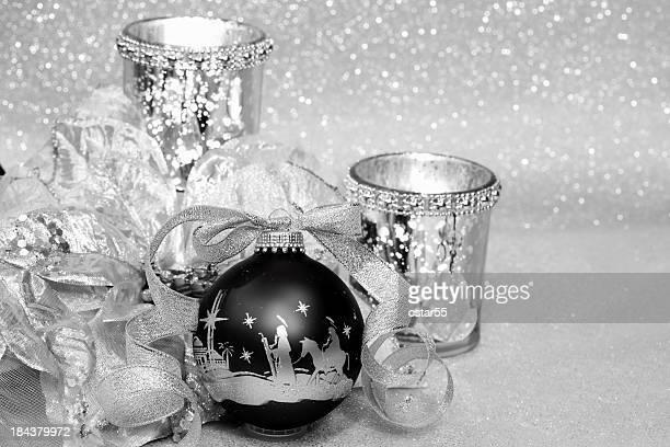 Religious: Black and Silver Christmas Nativity Scene Ornament