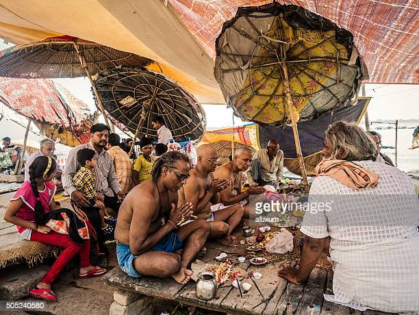 religious blessing ceremony in varanasi india - ceremony stock pictures, royalty-free photos & images