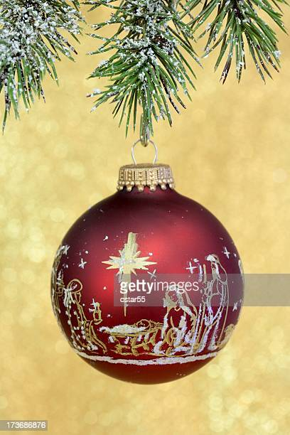 Religious: Christmas Nativity Scene on red Ornament