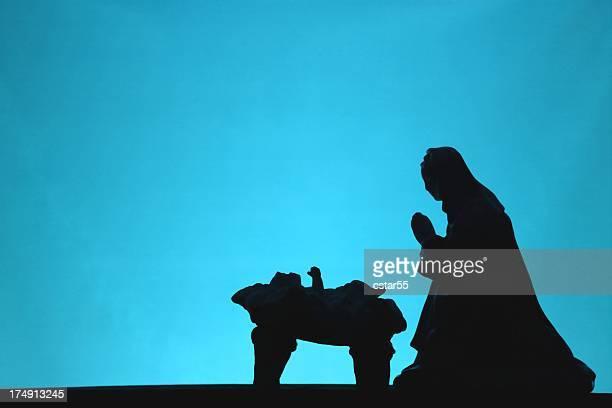 Religious: Christmas Nativity scene silhouette on Blue