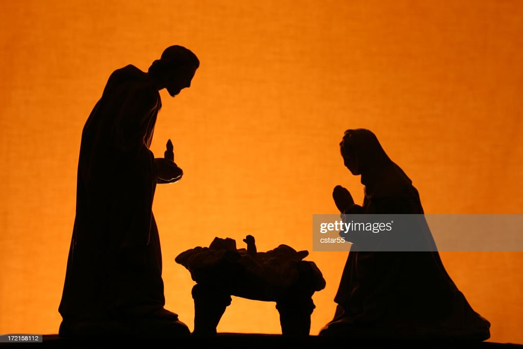 Religious: Christmas Nativity Trio Silhouette on Gold : Stock Photo